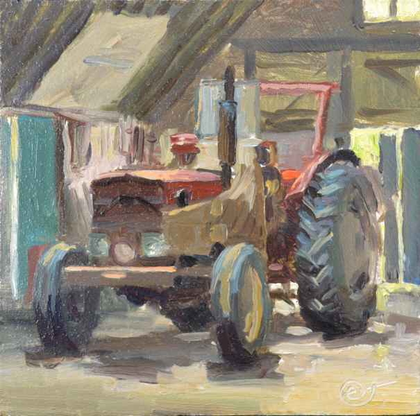 03 tractor rood 14 x 14 cm